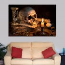 1 Panel HD Printed Skull Burning Candle Posters Pictures Wall Art Canvas Painting-With Framed