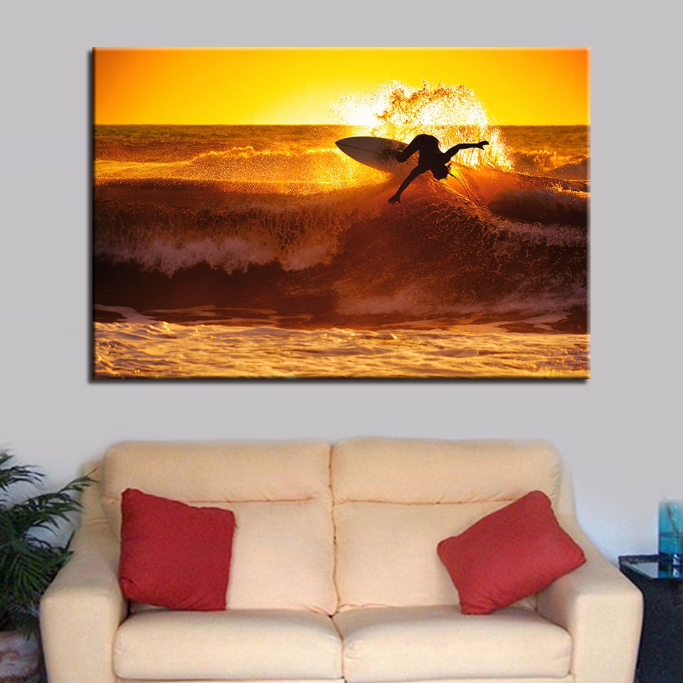 1 Panel HD Printed Sunset Surfing Ocean Wave Posters Pictures Wall Art Canvas Painting-With Framed