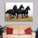 1 Panel HD Printed Running Black Horses Posters Pictures Wall Art Canvas Painting-With Framed