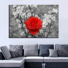 1 Panel HD Printed Red Rose And Wild Flower Posters Pictures Wall Art Canvas Painting-With Framed