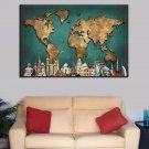1 Panel HD Printed Vintage World Map Posters Pictures Wall Art Canvas Painting-With Framed