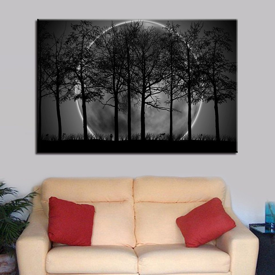 1 Panel HD Printed Black White Moon Night Posters Pictures Wall Art Canvas Painting-With Framed