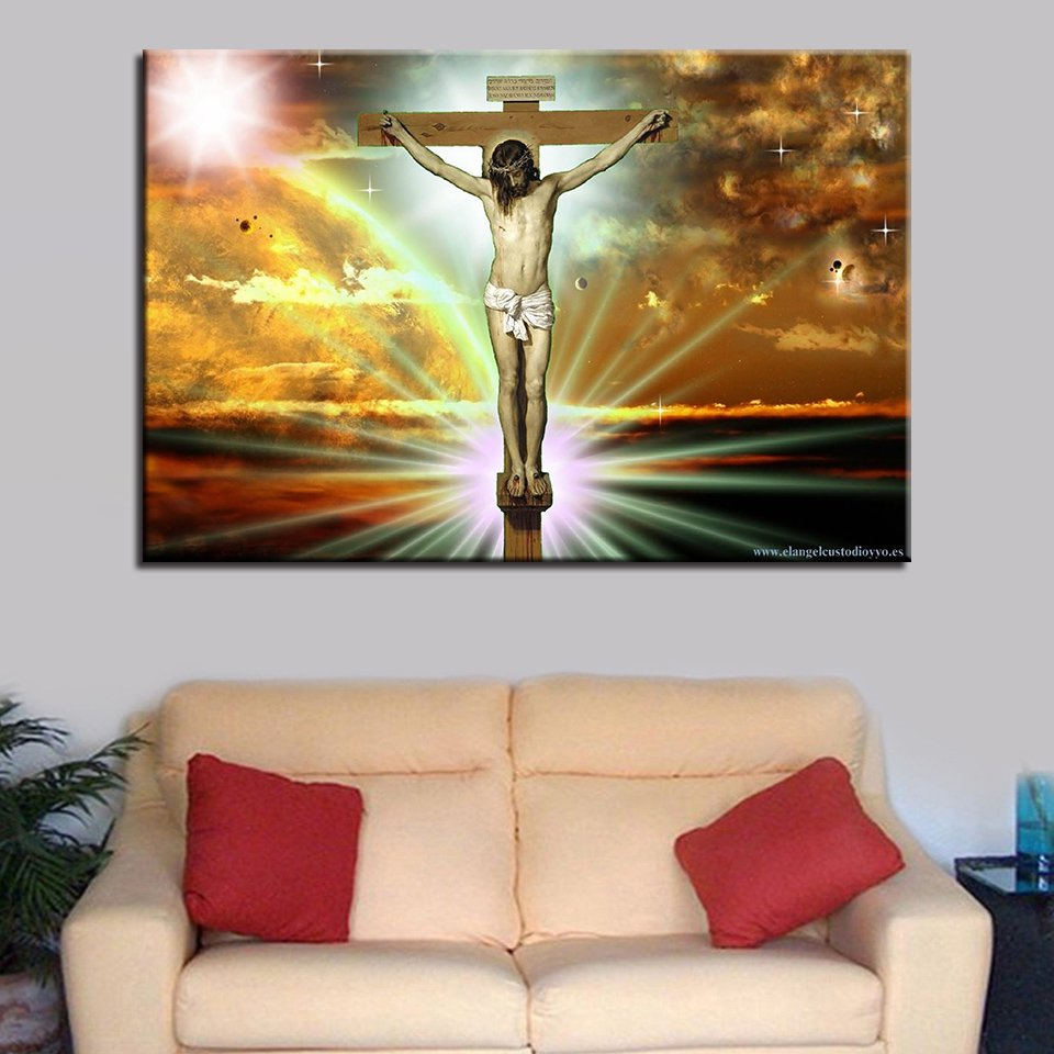 1 Panel HD Printed Jesus Glory To God Posters Pictures Wall Art Canvas Painting-With Framed