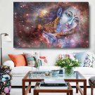 1 Panel HD Printed Lord Krishna Playing His Flute Posters Pictures Canvas Painting-With Framed