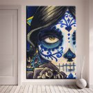 1 Panel HD Printed Skull Face Girl Posters Pictures Wall Art Canvas Painting-With Framed