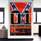 3 Panel HD Printed Red Car With X Flag Posters Pictures Wall Art Canvas Painting-With Framed