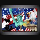 1 Panel HD Printed Statue Of Liberty Eagle Posters Pictures Wall Art Canvas Painting-With Framed