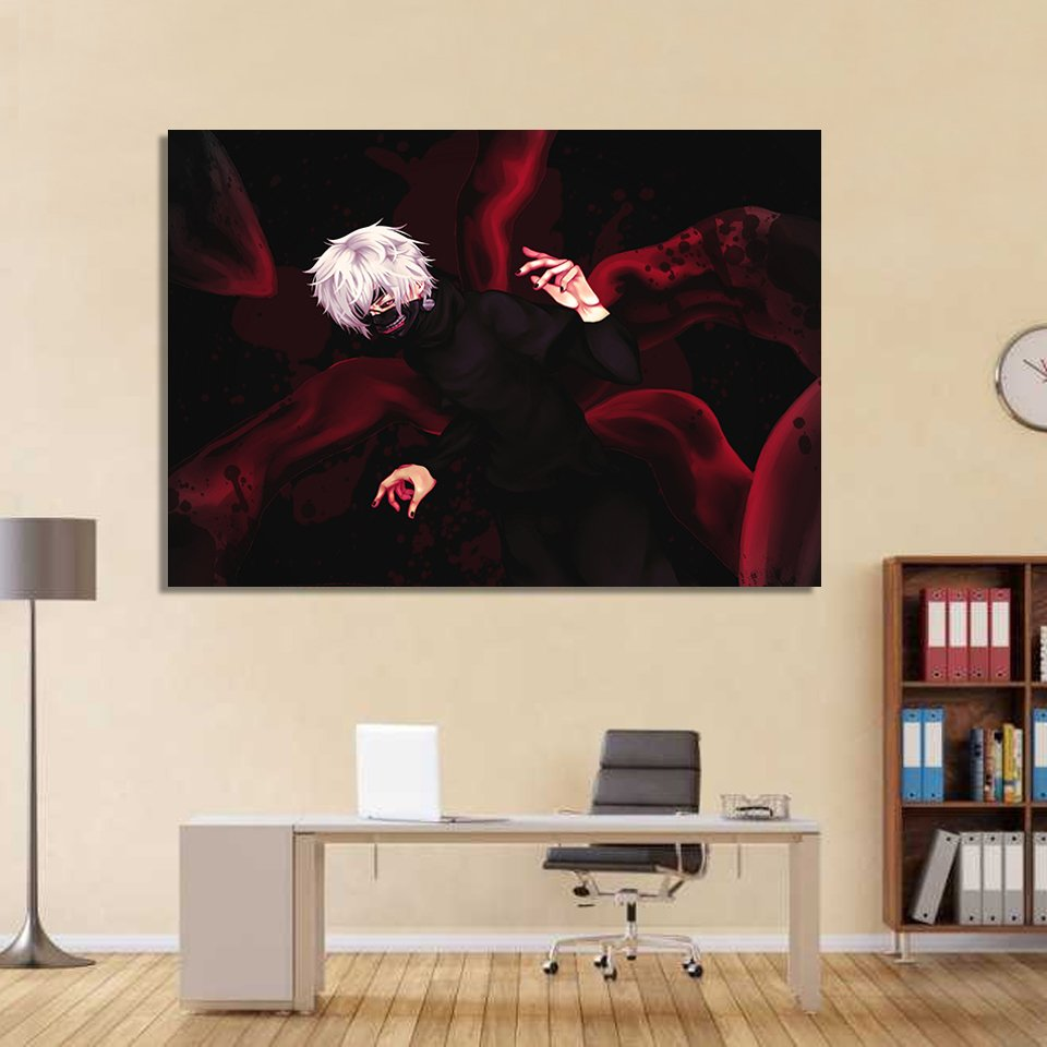1 Panel HD Printed Tokyo Ghoul Gesture Mask Posters Pictures Wall Art Canvas Painting-With Framed