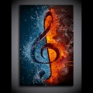 1 Panel HD Printed Music Note Flame And Water Posters Pictures Wall Art Canvas Painting-With Framed
