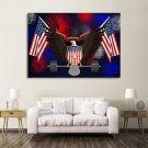 1 Panel HD Printed American Eagle Flag Posters Pictures Wall Art Canvas Painting-With Framed