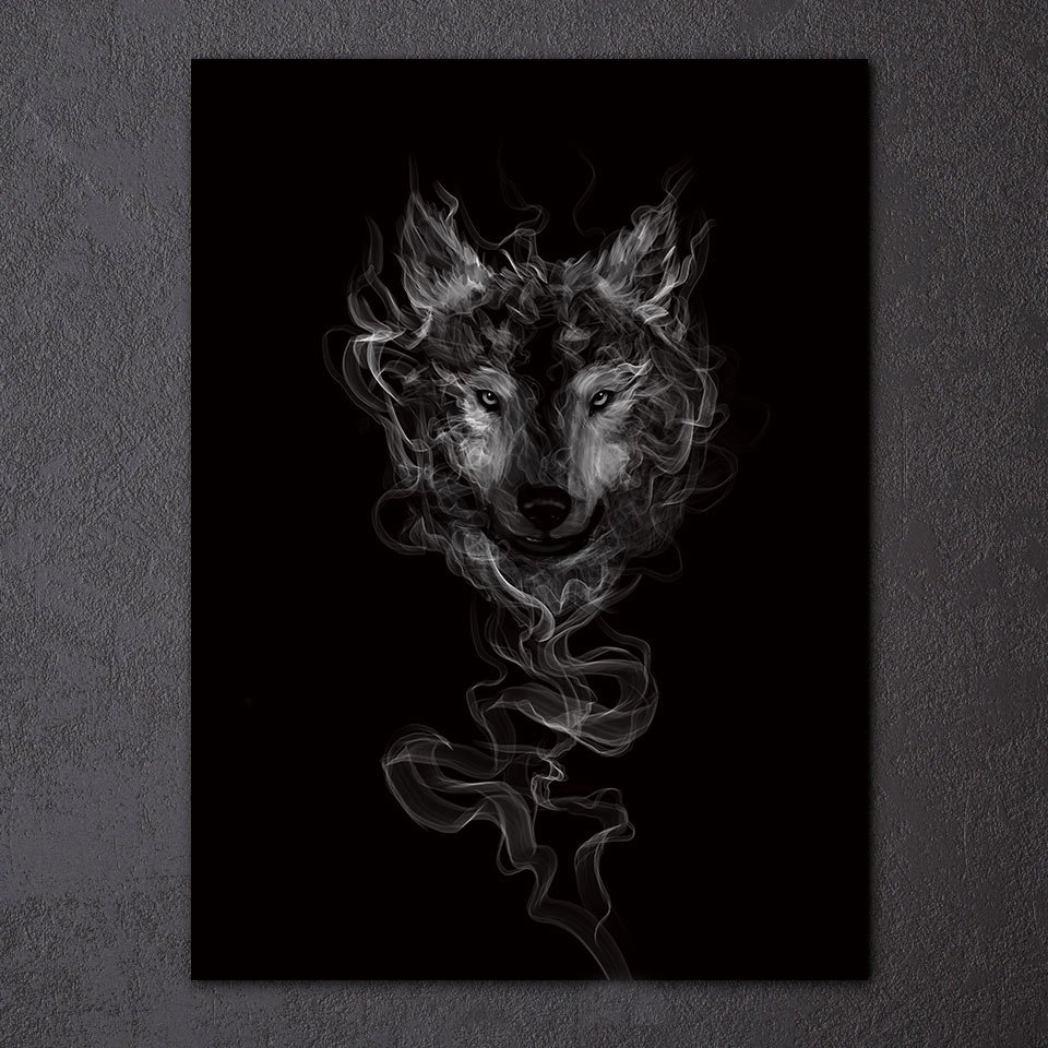 1 Panel HD Printed Smoke Wolf Posters Pictures Wall Art Canvas Painting-With Framed
