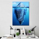 1 Panel HD Printed Inspirational Ice Mountain Posters Pictures Wall Art Canvas Painting-With Framed