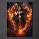 1 Panel HD Printed Warrior Burning Armor Posters Pictures Wall Art Canvas Painting-With Framed