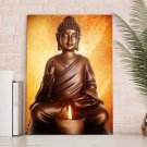 1 Panel HD Printed Buddha Sitting Candle Posters Pictures Wall Art Canvas Painting-With Framed