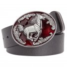 Men's PU Leather Belts With Cowboy Wild Red Horse Metal Buckle Head Jeans Belt Waistband