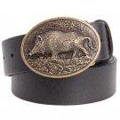 Men's PU Leather Belts With Cowboy Wild Boar Metal Buckle Head Jeans Belt Waistband