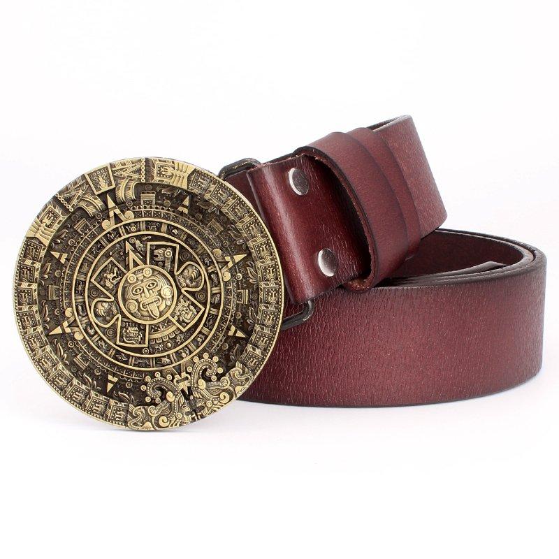 Men's PU Leather Belts With Cowboy Aztec Sun Calendar Metal Buckle Head Jeans Belt Waistband