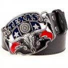 Men's PU Leather Belts With Cowboy Texas Bull Head Metal Buckle Head Jeans Belt Waistband
