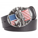 Men's PU Leather Belts With Western US Flag Cowboy Metal Buckle Head Jeans Belt Waistband