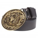 Men's PU Leather Belts With Copper Goat Flowers Cowboy Metal Buckle Head Jeans Belt Waistband