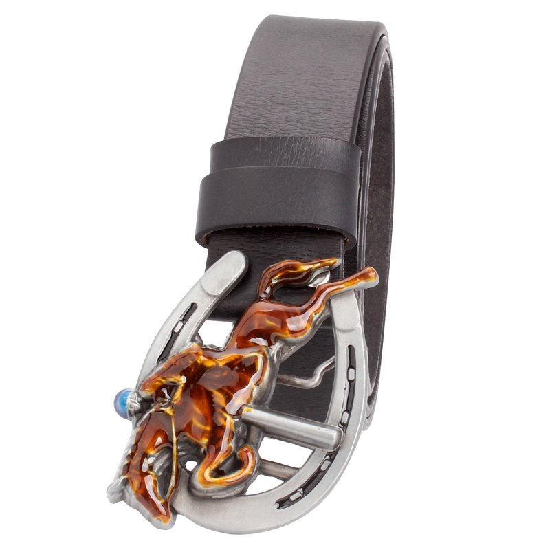 Men's Leather Belts With Horse Racing Cowboy Metal Buckle Head Jeans Waistband PU Leather Belts