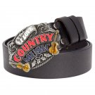 Men's Leather Belts With Love Country Music Cowboy Metal Buckle Jeans Waistband PU Leather Belts