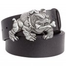 Men's Leather Belts With Bulldog Bully Pitbull Cowboy Metal Buckle Jeans Waistband PU Leather Belts