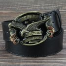 Men's Leather Belts With American Flag Eagle Cowboy Metal Buckle Jeans Waistband PU Leather Belts