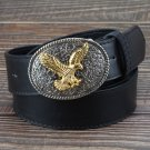 Men's Leather Belts With Golden Eagle Pattern Cowboy Metal Buckle Jeans Waistband PU Leather Belts