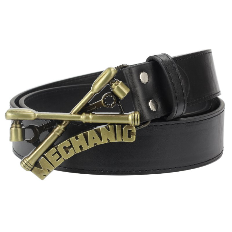 Men's Leather Belts With Mechanical Worker Cowboy Metal Buckle Jeans Waistband PU Leather Belts