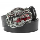 Men's Leather Belts With Fire Fighter Cowboy Metal Buckle Jeans Waistband PU Leather Belts