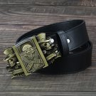 Men's Leather Belts With Lighters Brozen Skull Cowboy Metal Buckle Jeans Waistband PU Leather Belts
