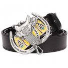 Men's Leather Belts With Horse Saddle Cowboy Metal Buckle Jeans Waistband PU Leather Belts