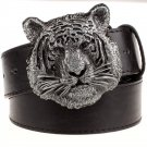 Men's Leather Belts With Tiger Head Cowboy Metal Buckle Jeans Waistband PU Leather Belts