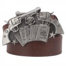 Men's Leather Belts With Gun Card Cowboy Metal Buckle Jeans Waistband PU Leather Belts