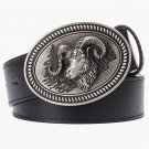 Men's Leather Belts With Ram Head Goat Cowboy Metal Buckle Jeans Waistband PU Leather Belts