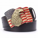 Men's Leather Belts With US Flag Eagle Cowboy Metal Buckle Jeans Waistband PU Leather Belts