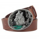 Men's Leather Belts With Wolf Animal Cowboy Metal Buckle Jeans Waistband PU Leather Belts