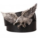 Men's Leather Belts With Fly Eagle Cowboy Metal Buckle Jeans Waistband PU Leather Belts