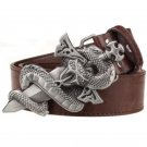 Men's Leather Belts With Sword Snake Cowboy Metal Buckle Jeans Waistband PU Leather Belts