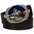 Men's Leather Belts With Knight Horse Style Cowboy Metal Buckle Jeans Waistband PU Leather Belts