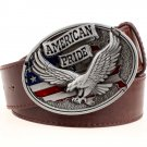 Men's Leather Belts With American Pride Eagle Cowboy Metal Buckle Jeans Waistband PU Leather Belts