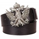 Men's Leather Belts With Double Headed Eagle Cowboy Metal Buckle Jeans Waistband PU Leather Belts