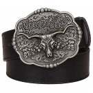 Men's Leather Belts With Bull Head Texas Cowboy Metal Buckle Jeans Waistband PU Leather Belts