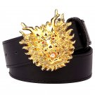 Men's Leather Belts With Golden Dragon Head Cowboy Metal Buckle Jeans Waistband PU Leather Belts