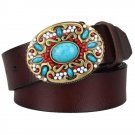 Men's Leather Belts With Mosaic Gem Turquoise Cowboy Metal Buckle Jeans Waistband PU Leather Belts