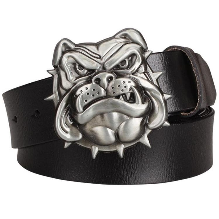 Men's Leather Belts With Bulldog Head Cowboy Metal Buckle Jeans Waistband PU Leather Belts