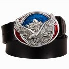 Men's Leather Belts With American Fly Eagle Cowboy Metal Buckle Jeans Waistband PU Leather Belts