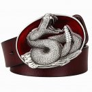 Men's Leather Belts With King Cobra Cowboy Metal Buckle Jeans Waistband PU Leather Belts