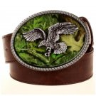 Men's Leather Belts With Cool Eagle Hunting Cowboy Metal Buckle Jeans Waistband PU Leather Belts